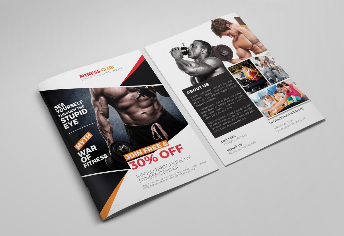 Creative Bifold GymFitness Indesign Brochure Template RONOUR - Bifold brochure template