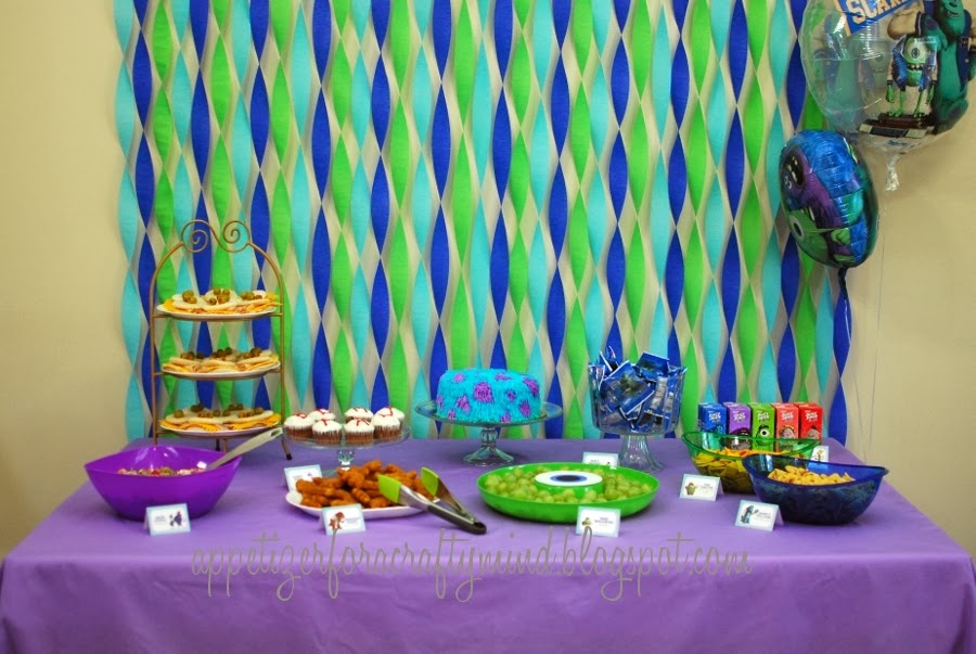 Appetizer For A Crafty Mind Monsters University Birthday Decorations With Crepe Paper