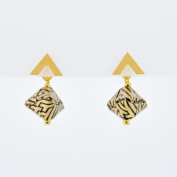 gold and black geometric patterned paper bead earrings