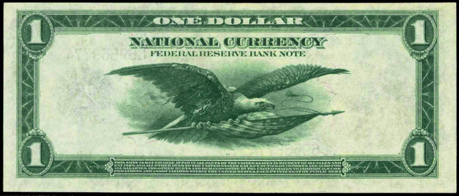 US one dollar bill Flying Eagle