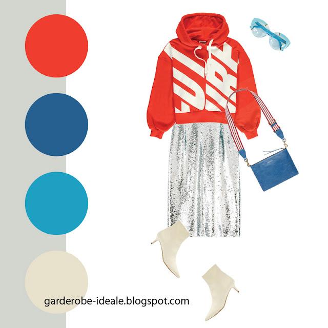 Красный свитшот оверсайз с серебристой юбкой в пайетках