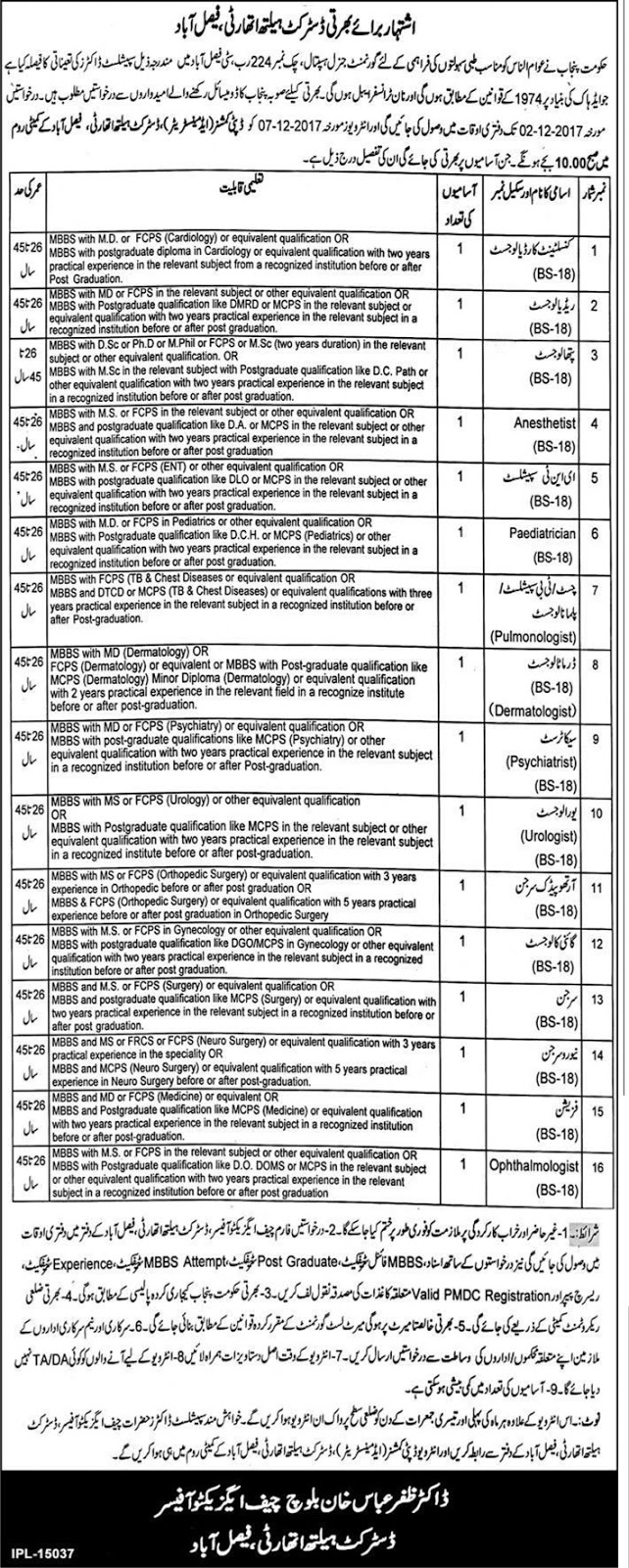 Jobs In Government General Hospital Faisalabad Nov 2017
