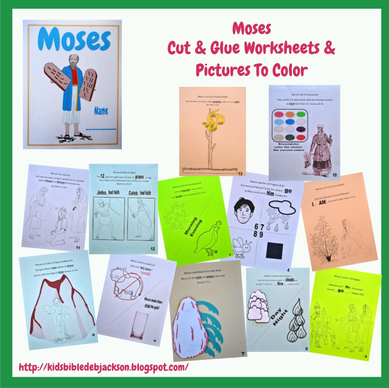 Bible Fun For Kids Moses Cut Amp Glue And Pictures To Color