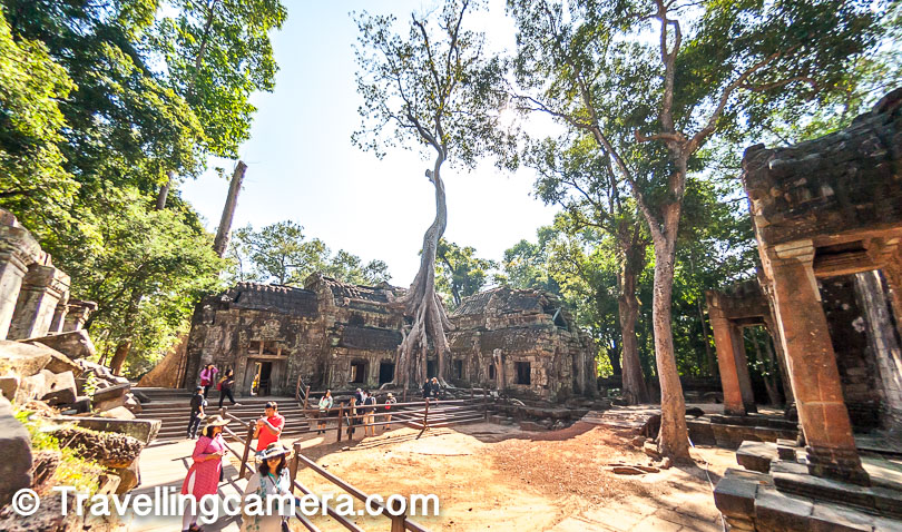 Above photograph of Ta Prohm shows the most popular spot with the tree growing through the walls of the temple. If you notice a lot of people standing close to the tree and I was wondering what exactly there trying to click, because it would be pretty hard to take wide shot of the place when you are standing so close to the walls. Probably I was overthinking.