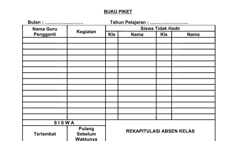 Download Buku Piket Perangkat Administrasi TU (Tata Usaha) Sekolah Format Word (doc)
