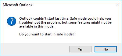 Outlook Could Not Start Last Time Safe Mode Error - Resolved
