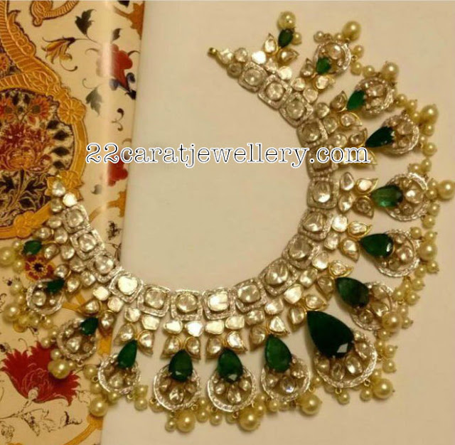 Pachi Work Emerald Choker with Pearls