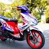 Sơn xe Yamaha Luvias GTX màu đỏ trắng xanh GP