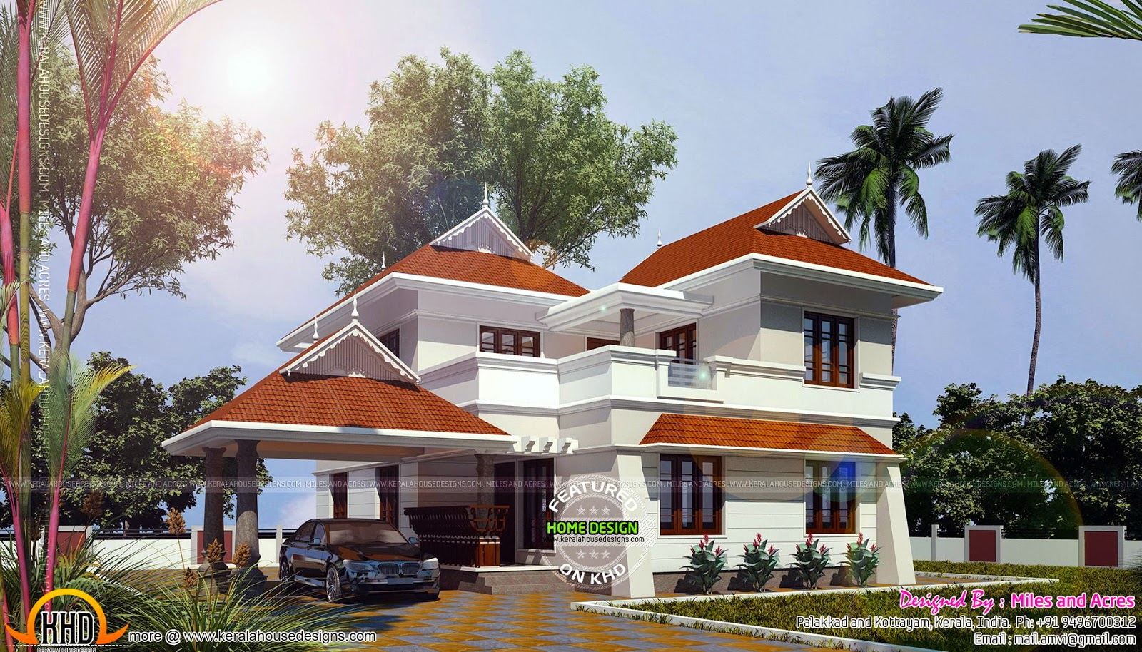 1767 square feet house plan kerala home design and floor for Square house design