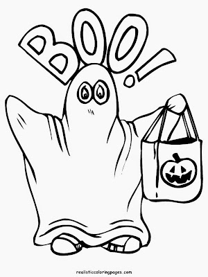 happy halloween ghost coutume coloring pages