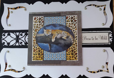 Born to be Wild  - Leopard on branch (Pollyanna Pickering) C5 fancy edged card