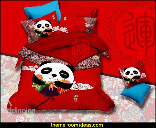 Super Cute Panda and Auspicious Clouds Print 4-Piece Cotton Duvet Cover Sets