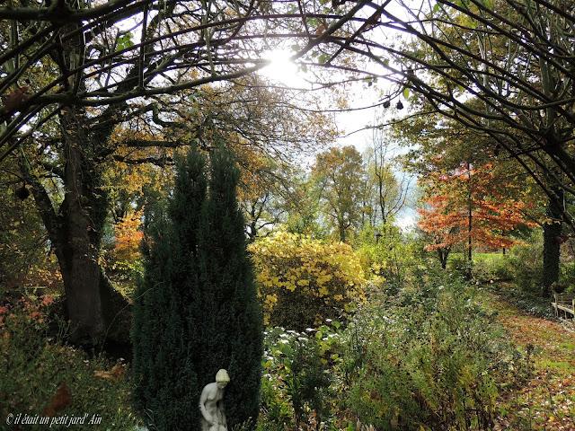 scène de jardin mare et statue