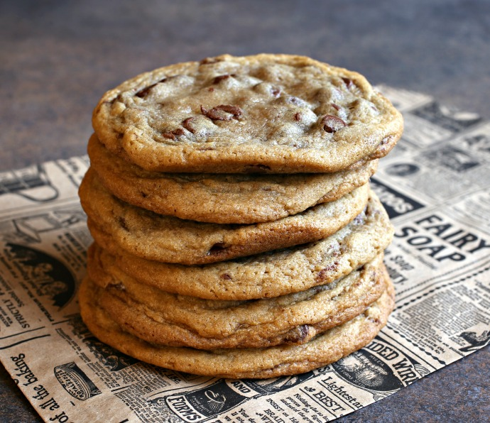Recipe for large, chewy chocolate chip cookies in the style of Costco's gourmet chocolate chunk.