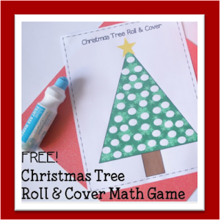 Christmas Tree Roll and Cover Preschool Math