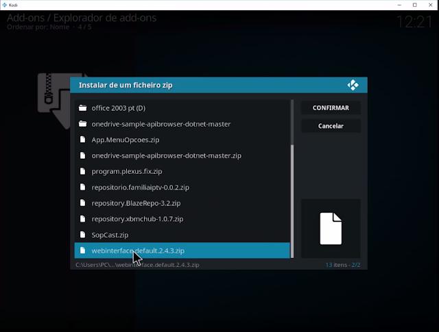 Instalar de um ficheiro zip