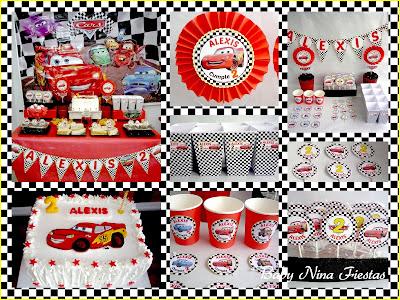 mesa y kit de cumpleaños cars