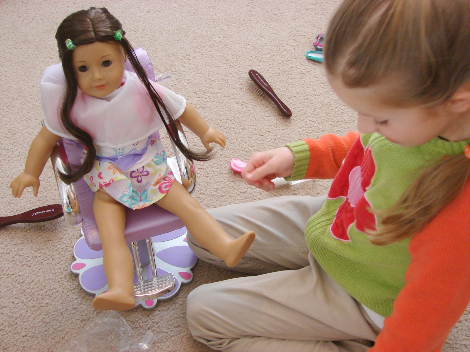 Doll Salon Chair Heavy Duty Desk American Girl Play Hair Styling