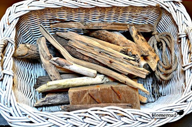 White basket of driftwood