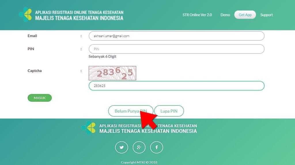 cara request PIN pada STR Online