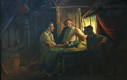 Πίνακας: Καπηλειό, 1971 Σολιδάκης Βασ.