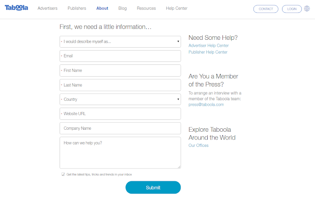 contact form Taboola