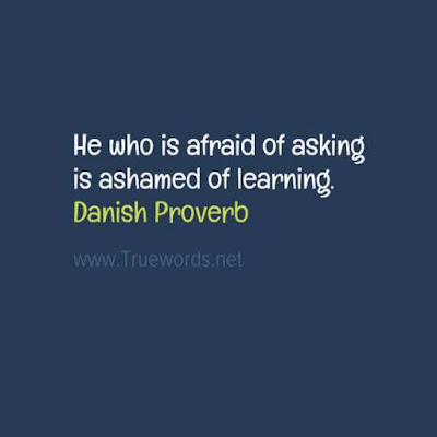 He who is afraid of asking is ashamed of learning