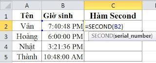 tinhoccoban.net - Hàm Secon trong Excel