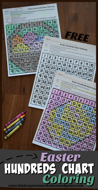 FREE Easter Hundreds Chart Coloring - these free printable math worksheets for kid are a great way for preschool, kindergarten, first grade, and 2nd grade kids to practice counting to 100, using a 100s chart, strengthening fine motor skills and more with easter worksheets. Great for math center, seat work, extra practice, spring break, homeschool and more.