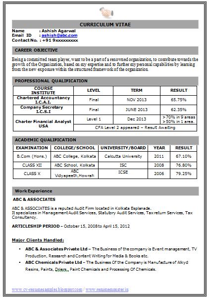 Resume Format Doc