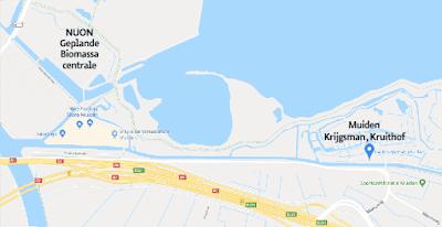 Kaart omgeving NUON centrale Diemen en Muiden, Krijgsman, Kruithof