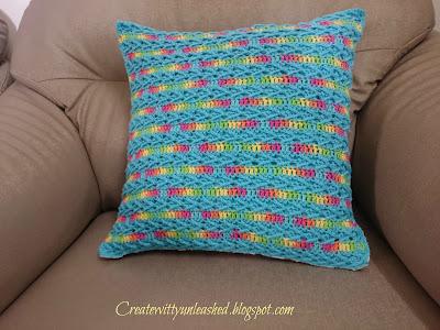 Crochet arrow stitch cushion