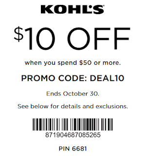 Kohl's coupon $10 off $50 purchase oct 30