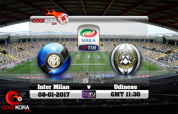 مشاهدة مباراة أودينيزي وإنتر ميلان اليوم 8-1-2016 في الدوري الإيطالي