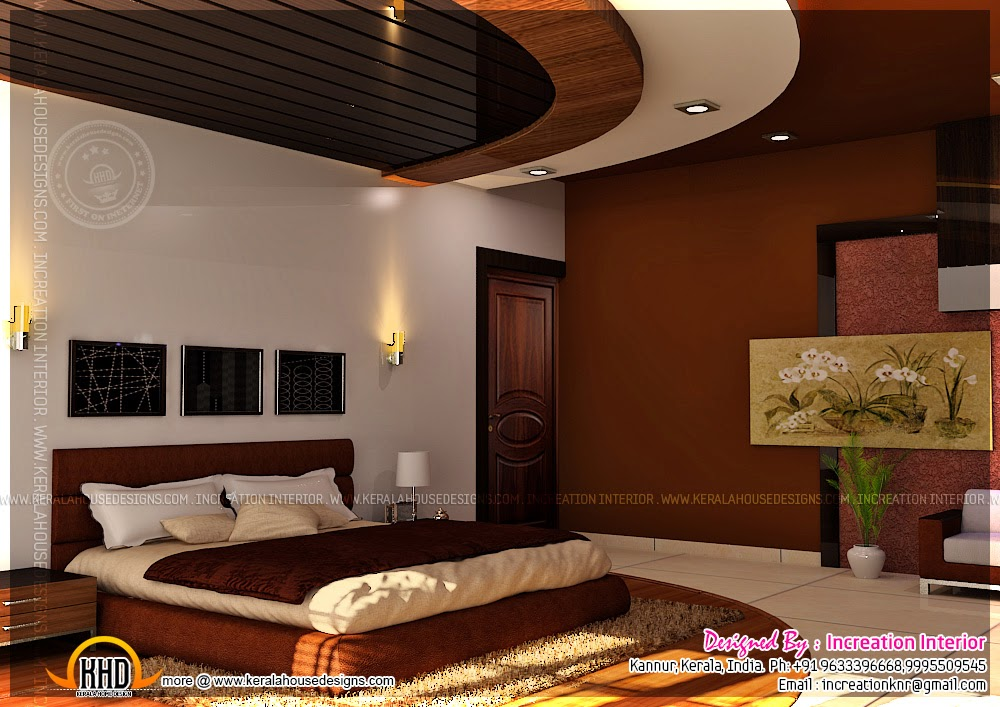 Home theater bedroom and dining interior kerala home for Beautiful bedroom interior