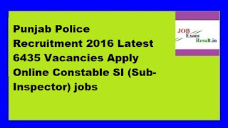 Punjab Police Recruitment 2016 Latest 6435 Vacancies Apply Online Constable SI (Sub-Inspector) jobs