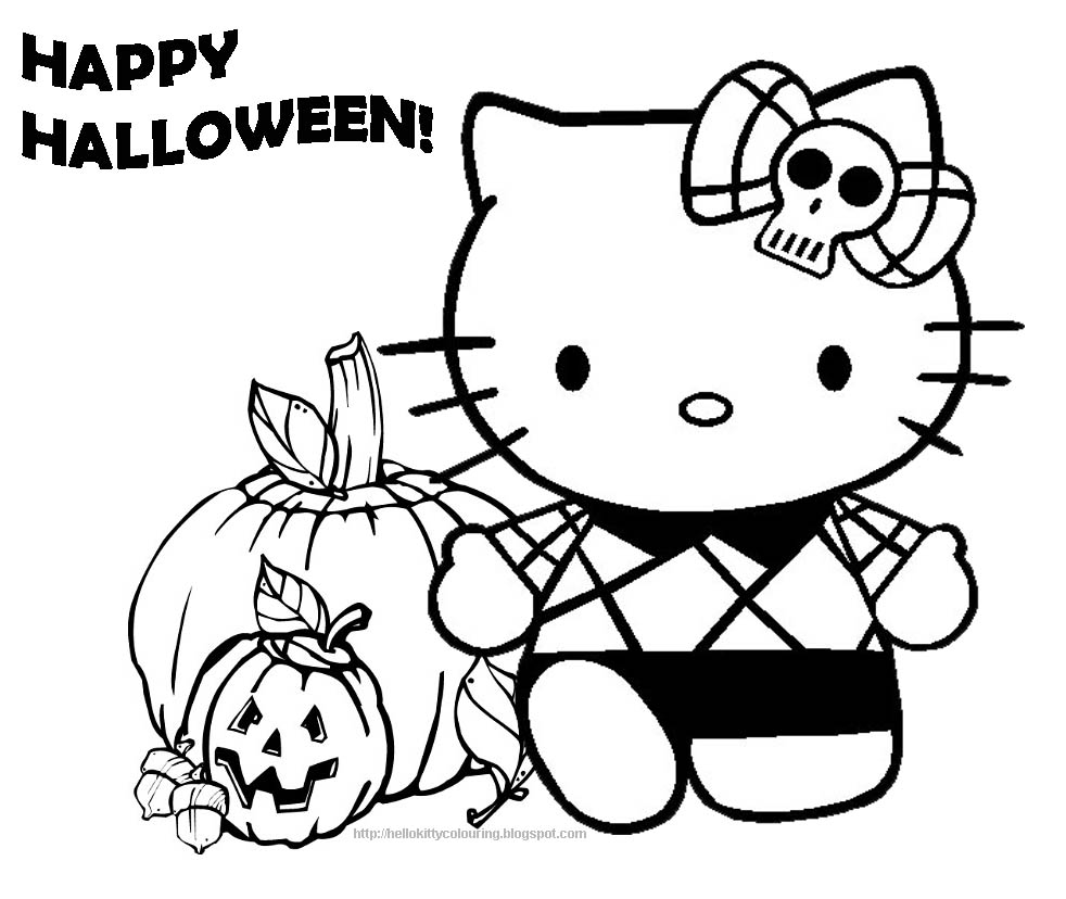 printable coloring pages halloween | HELLO KITTY COLORING PAGES