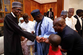 First Photos Of President Buhar i As He Arrives Aso Rock, Meets With His Children & Grand Children
