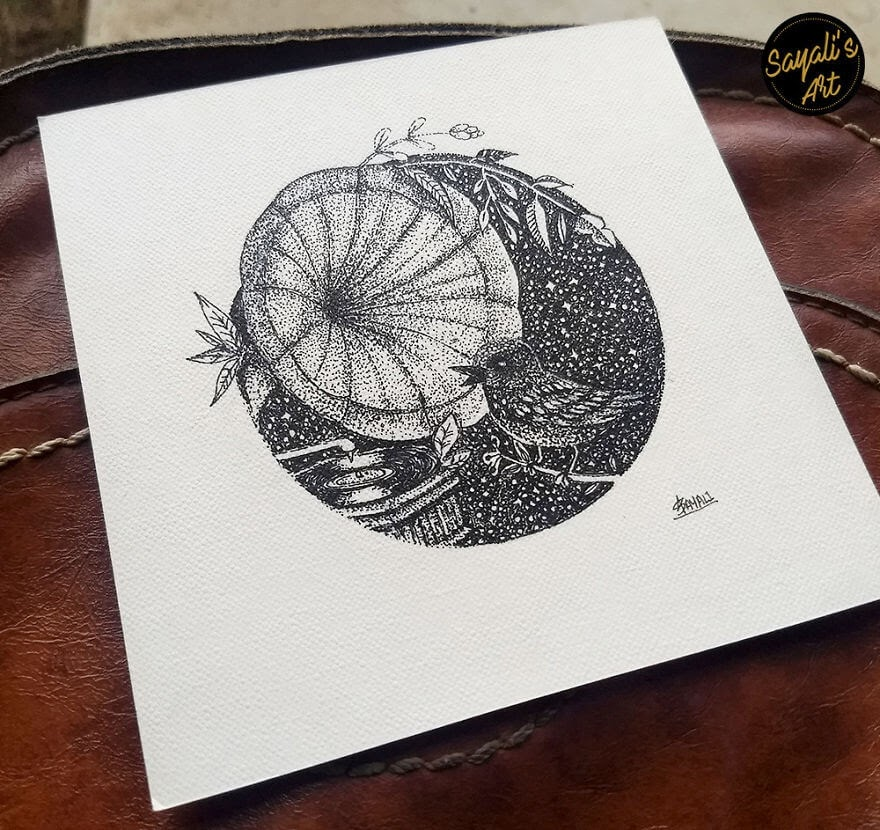 11-The-Bird-Is-Nature-s-Gramophone-Sayali-Horambe-Stippling-Dots-and-Creating-Drawings-www-designstack-co