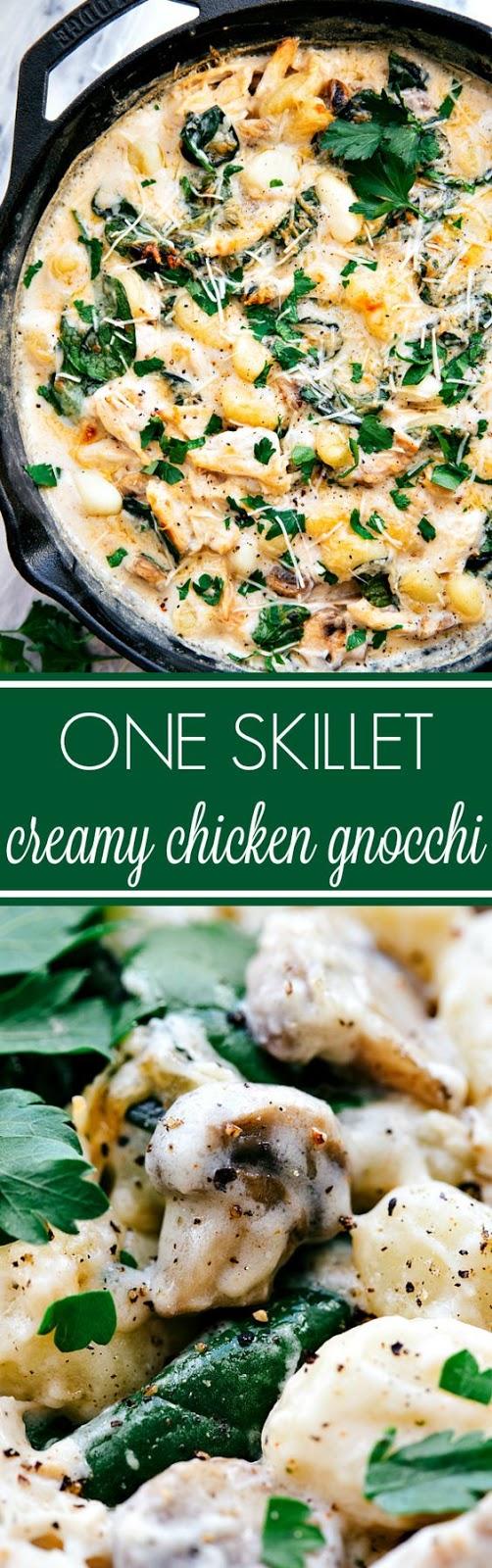 One Skillet Chicken and Spinach Gnocchi