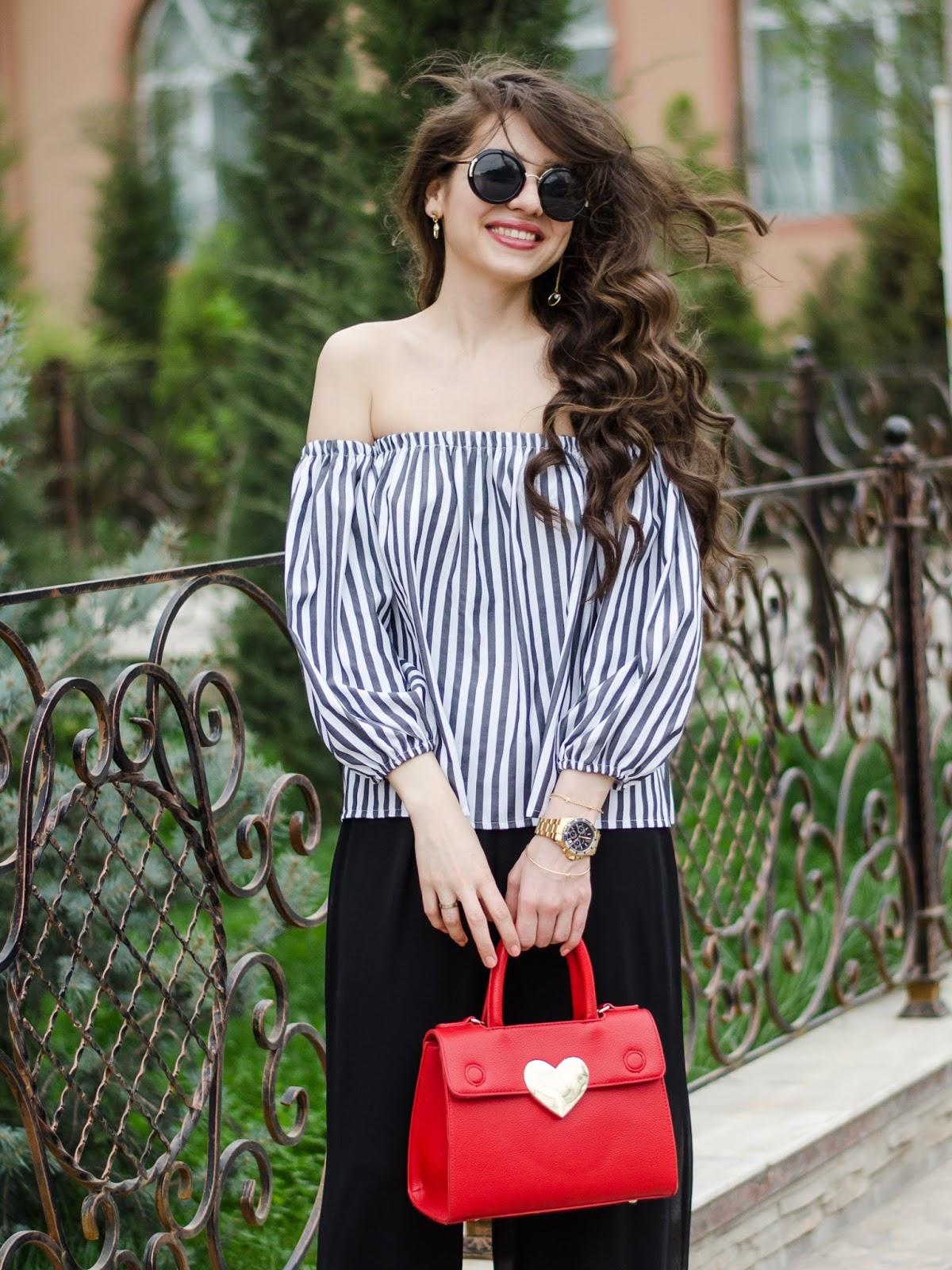 fashion blogger diyorasnotes diyora beta striped offtheshoulder top wide leg pants red bag