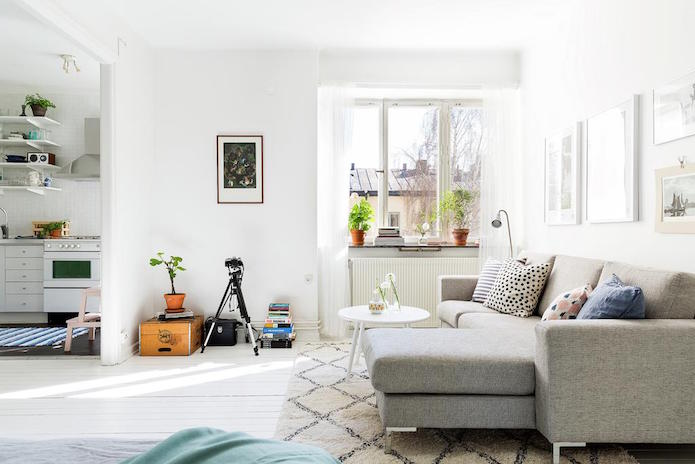 salón decorado en una piso de alquiler