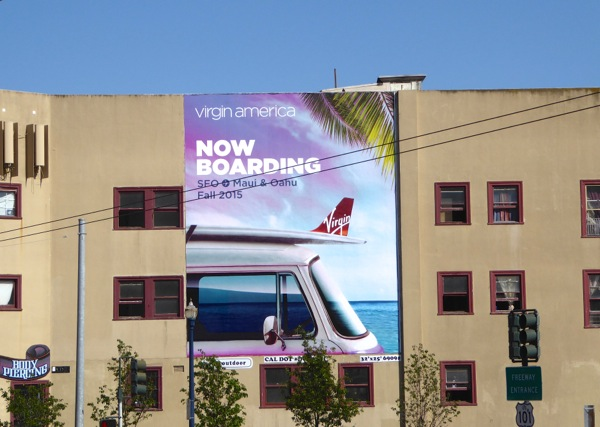 Now boarding Virgin America SFO Maui Oahu billboard