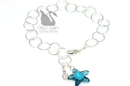 Floating Circles Blue Crystal Starfish Charm Bracelet (B178-IN)