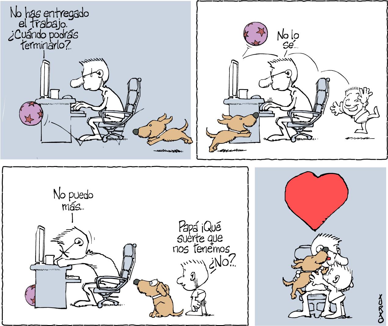 Un padre, un niño y un cachorro pasando juntos la cuarentena