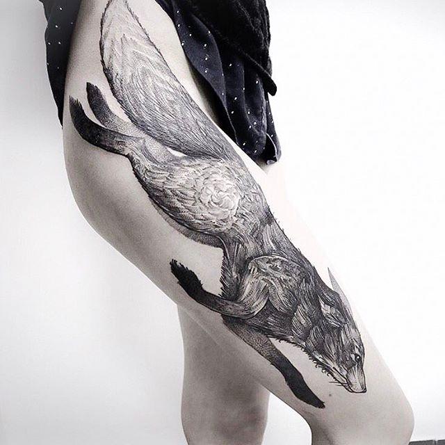 amazing fox thigh tattoos