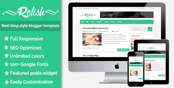 Best responsive blog style blogger template Relish