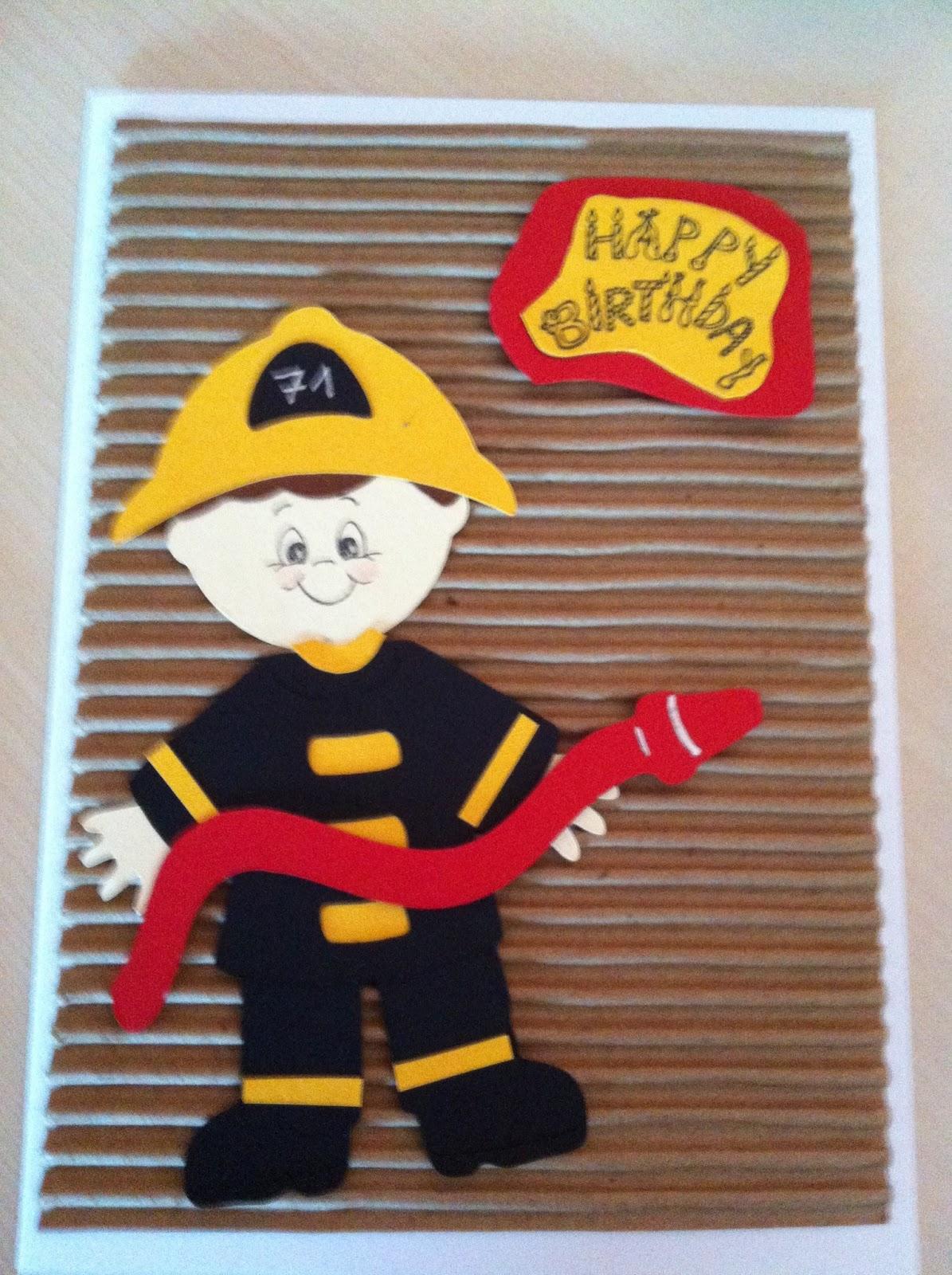 Geburtstagskarten Basteln Fur Jungs.Geburtstagskarte Feuerwehrmann