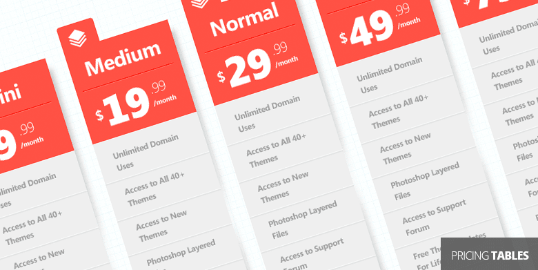 Set Of PSD Pricing Tables