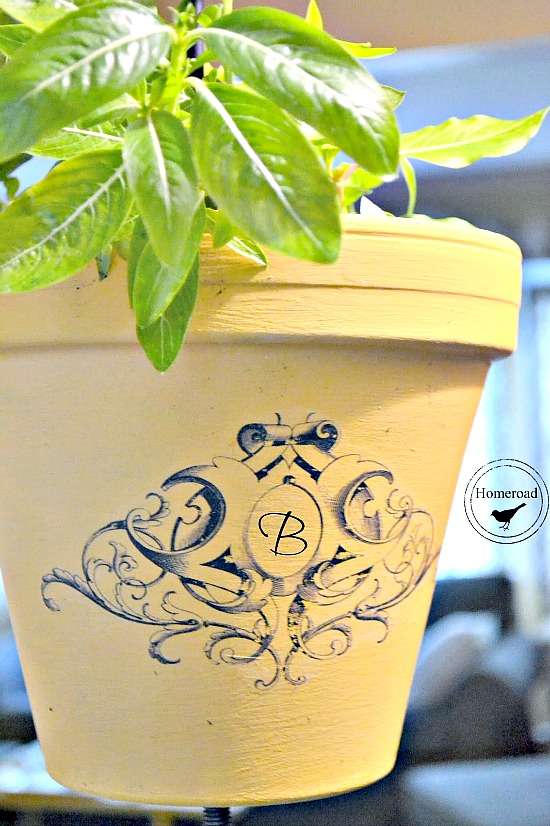 Wrought Iron Hanging Planter pot with a transfer